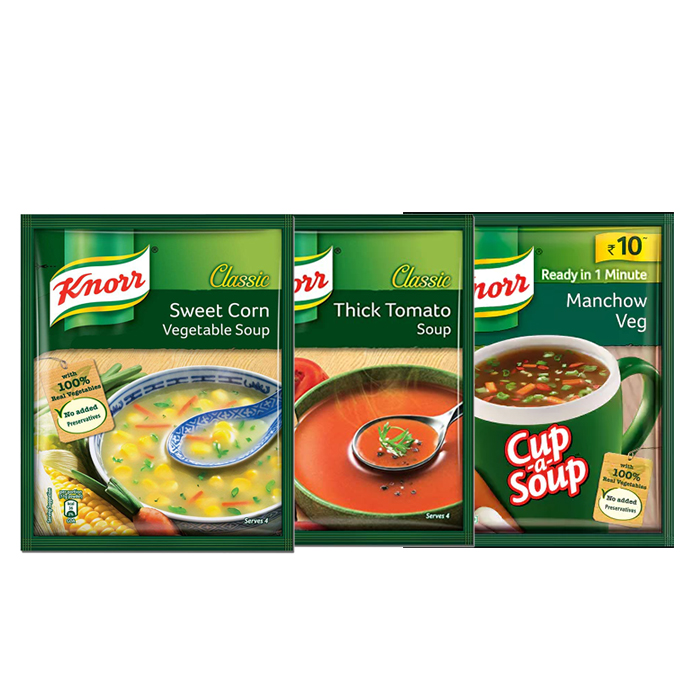 Soup Combo Knorr Thick Tomato + Sweet Corn + Manchow Soup